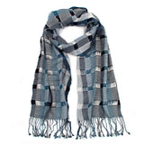 steel blue and gray rayon angelina scarf with twisted fringe
