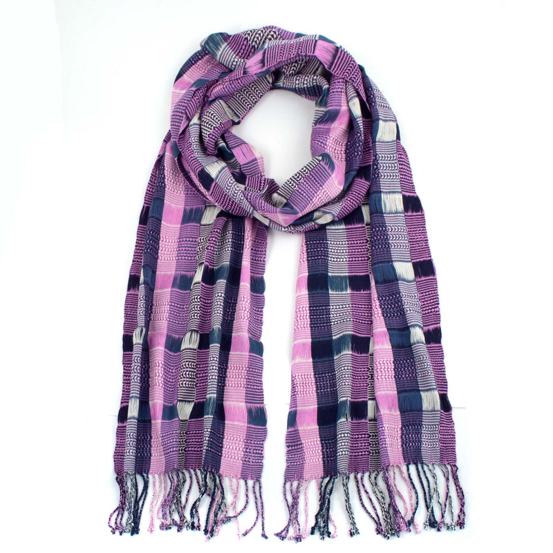 violet rayon angelina scarf with twisted fringe