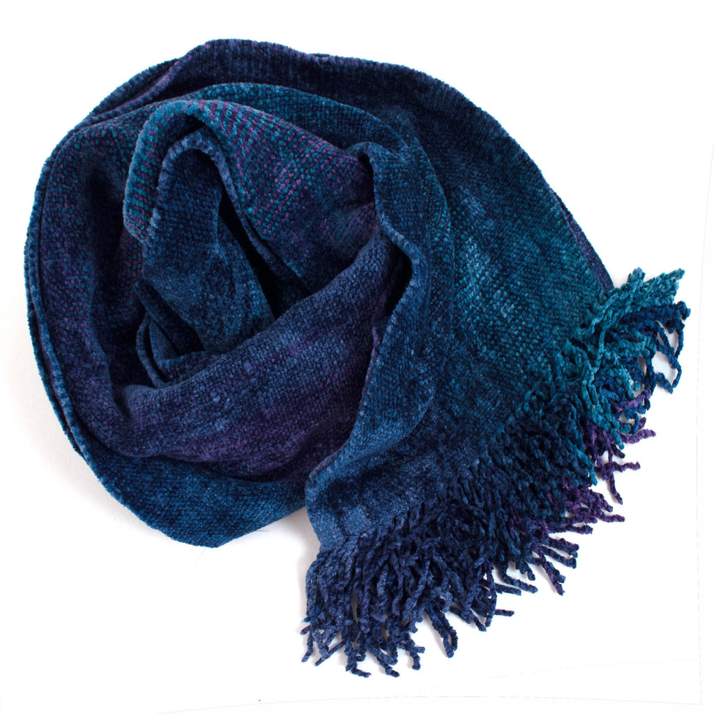 blue and purple space dyed chenille scarf
