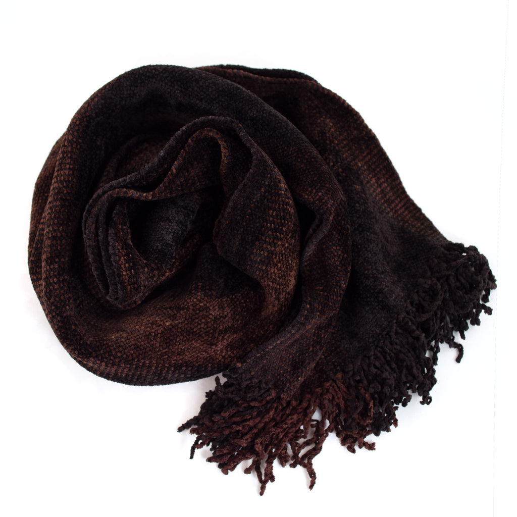 black and brown space dyed chenille scarf