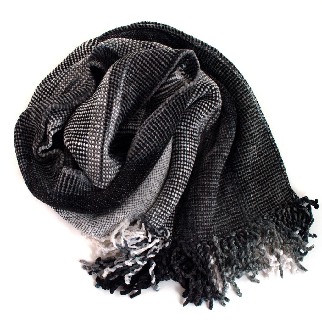 gray and white space dyed chenille scarf