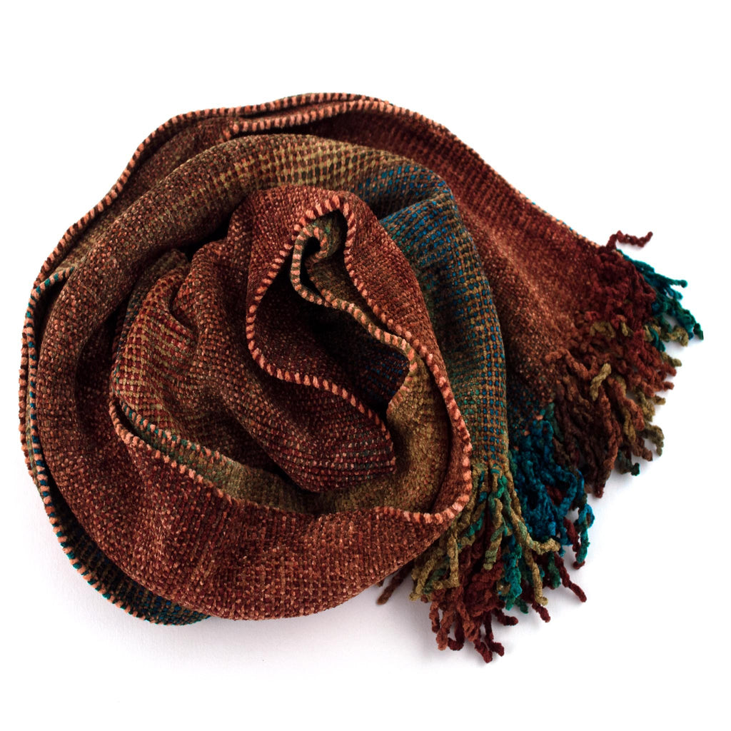harvest colored space dyed chenille scarf