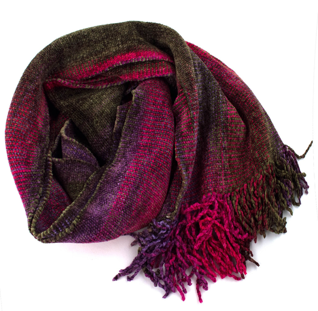 magenta and olive space dyed chenille scarf