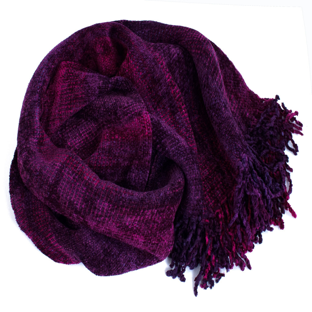 purple and magenta space dyed chenille scarf