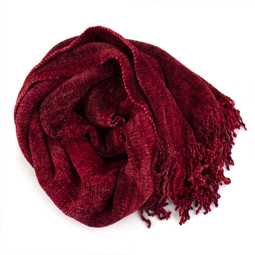 red space dyed chenille scarf