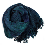 sapphire and green space dyed chenille scarf