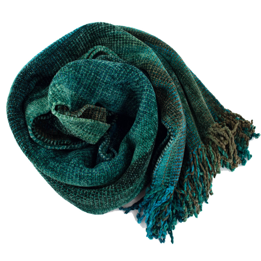 green, blue, and brown space dyed chenille scarf