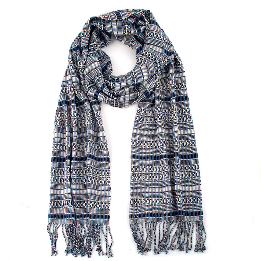 gray and dark blue rayon linda scarf