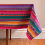 Tablecloth in colorful stripes with jaspe