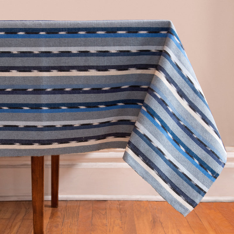 Striped Handwoven tablecloth in blues
