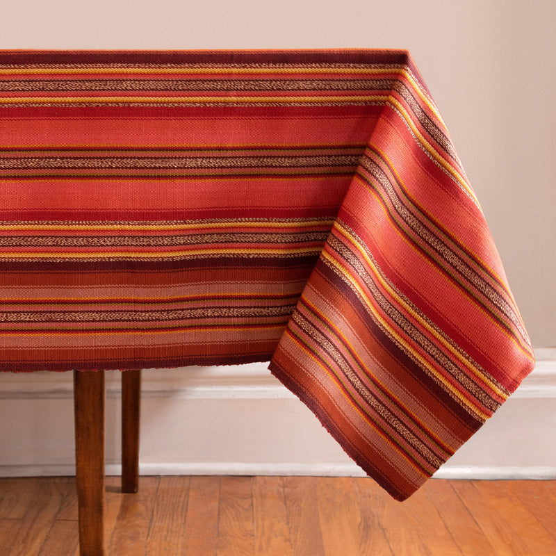 Striped Handwoven tablecloth in oranges and browns