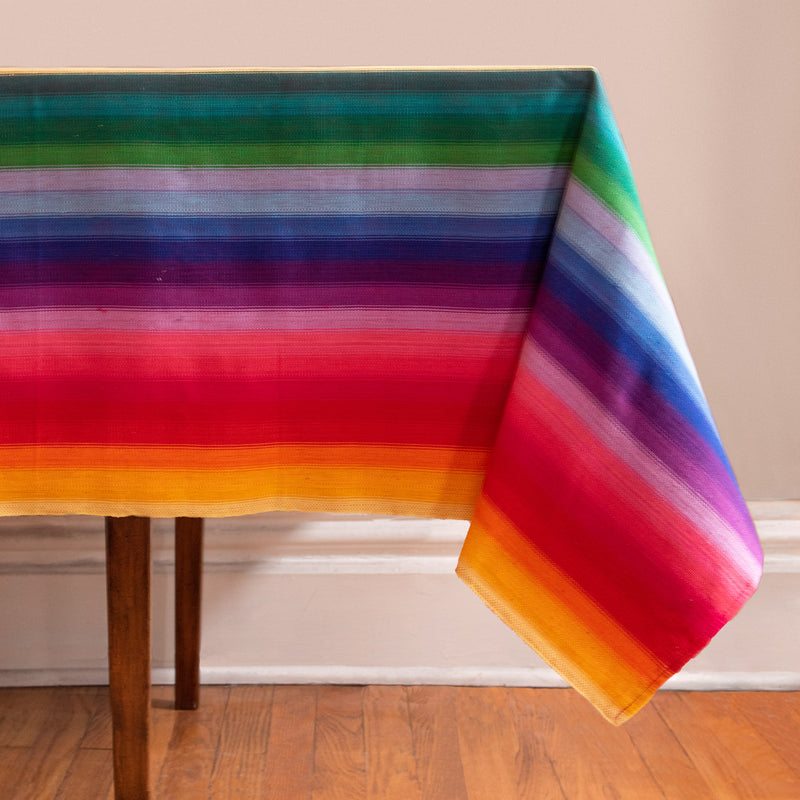 Striped Handwoven tablecloth in rainbow colors