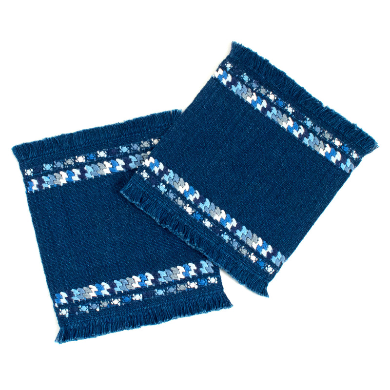 Indigo cotton coaster set