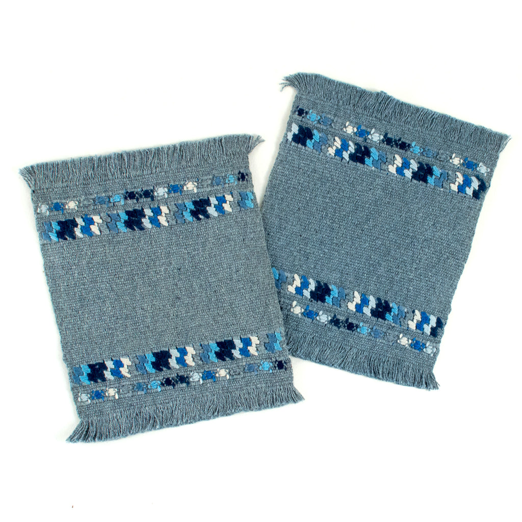 recycled denim coaster set with brocade