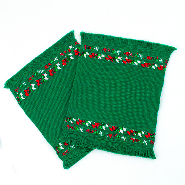 green cotton Christmas coasters, set of two