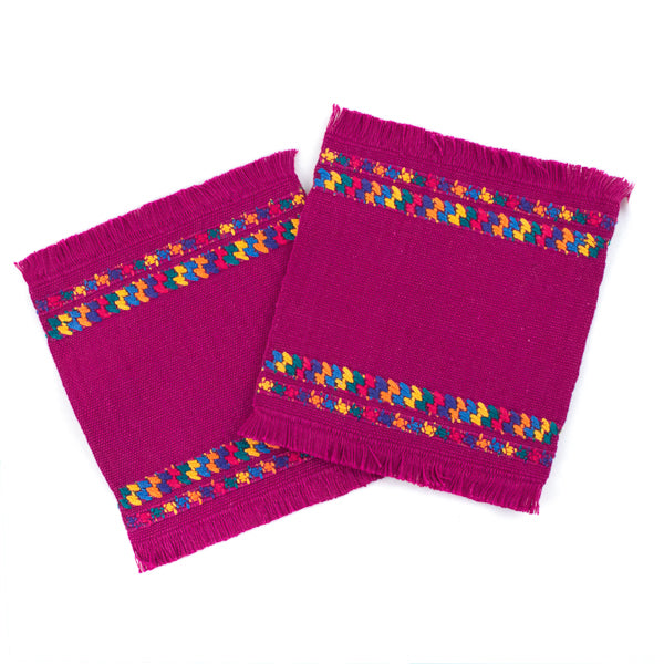 handwoven magenta cotton coasters with colorful brocade