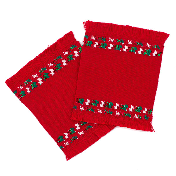 red cotton coaster set with Christmas brocade