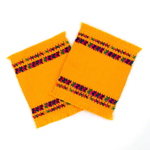 yellow cotton coasters with colorful brocade accent, set of 2