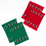 red and green brocaded coaster sets