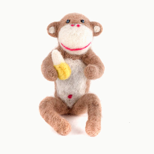Felted Wool Monkey with Banana