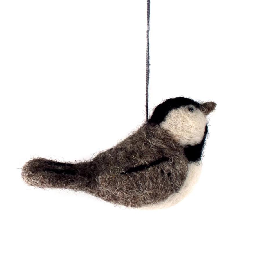 felted wool chickadee ornament