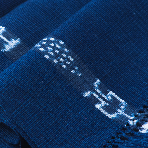 detail of indigo ikat table runner