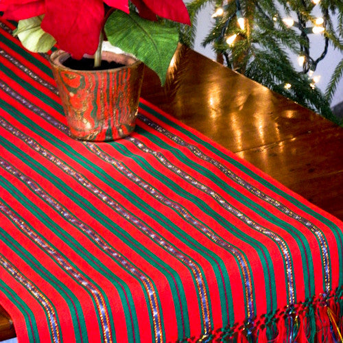 red holiday jaspe table runner with gold stripe tabletop