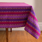 Striped Handwoven tablecloth in purples