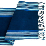 indigo stripe table runner with twisted fringe