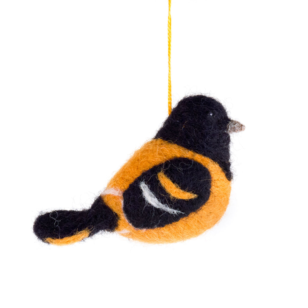 felted wool oriole ornament