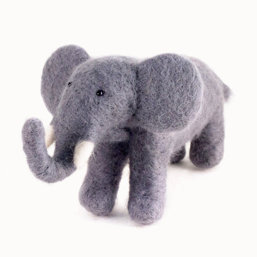 Felted Wool Elephant (gray)