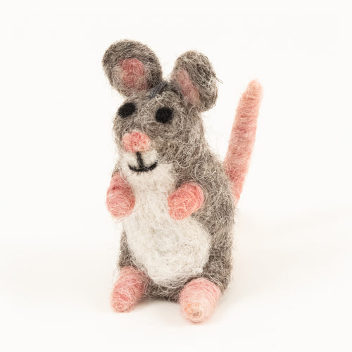 Hand felted wool mouse