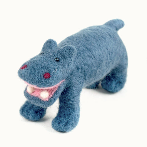 blue felted wool hippo