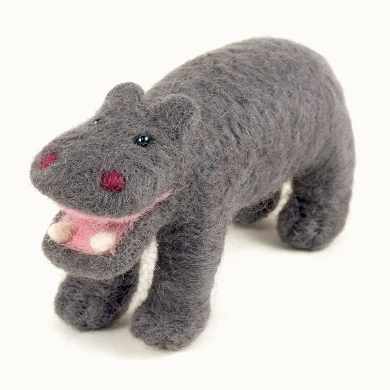 gray felted wool hippo