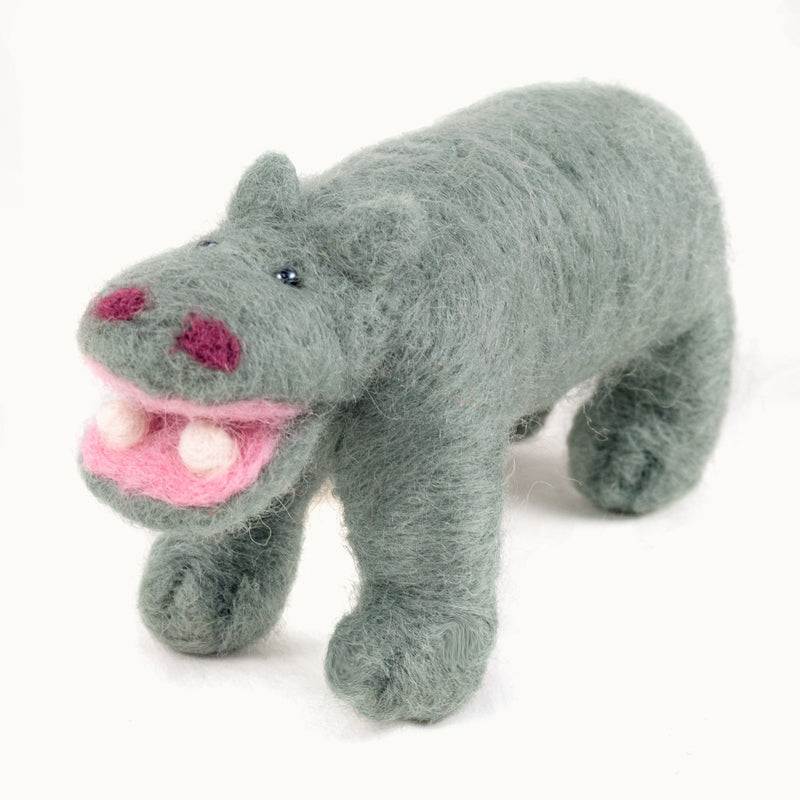 green felted wool hippo