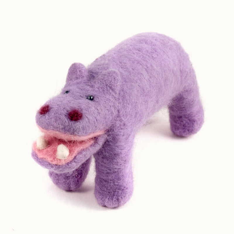 lavender felted wool hippo