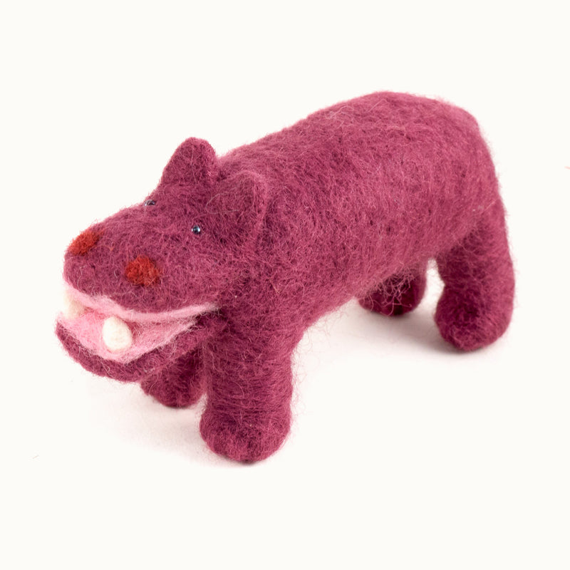 rose felted wool hippo