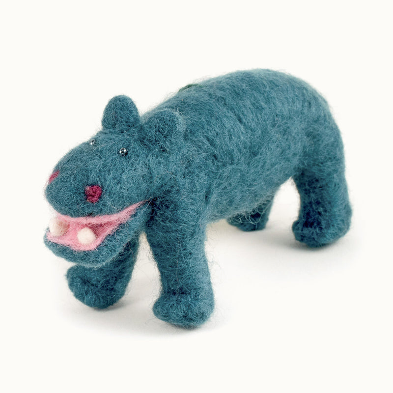 teal felted wool hippo