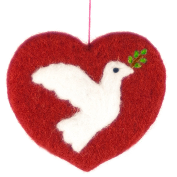 Felted Wool Heart with Dove Ornament