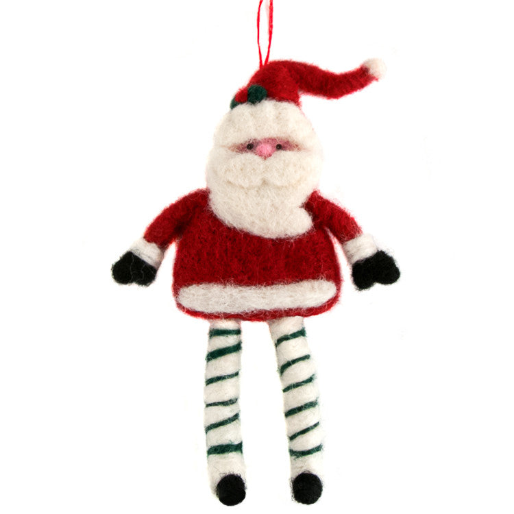 Felted Wool Dancing Santa Ornament