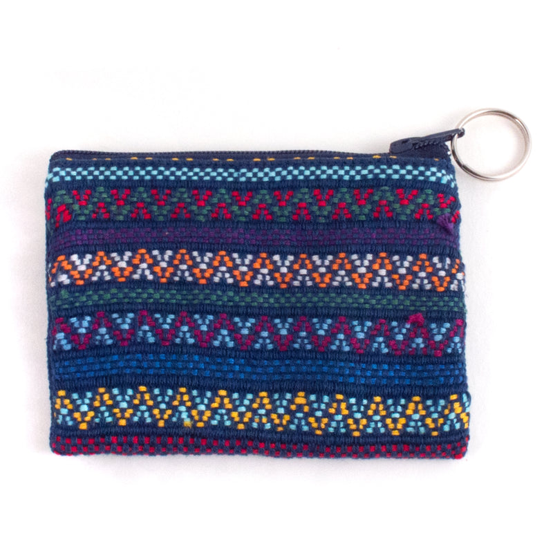 Santiago brocade coin purse - navy multi | Mayan Hands