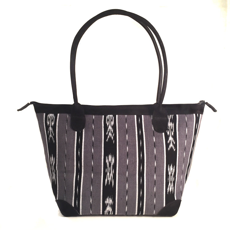 Handwoven hand bag black ikat
