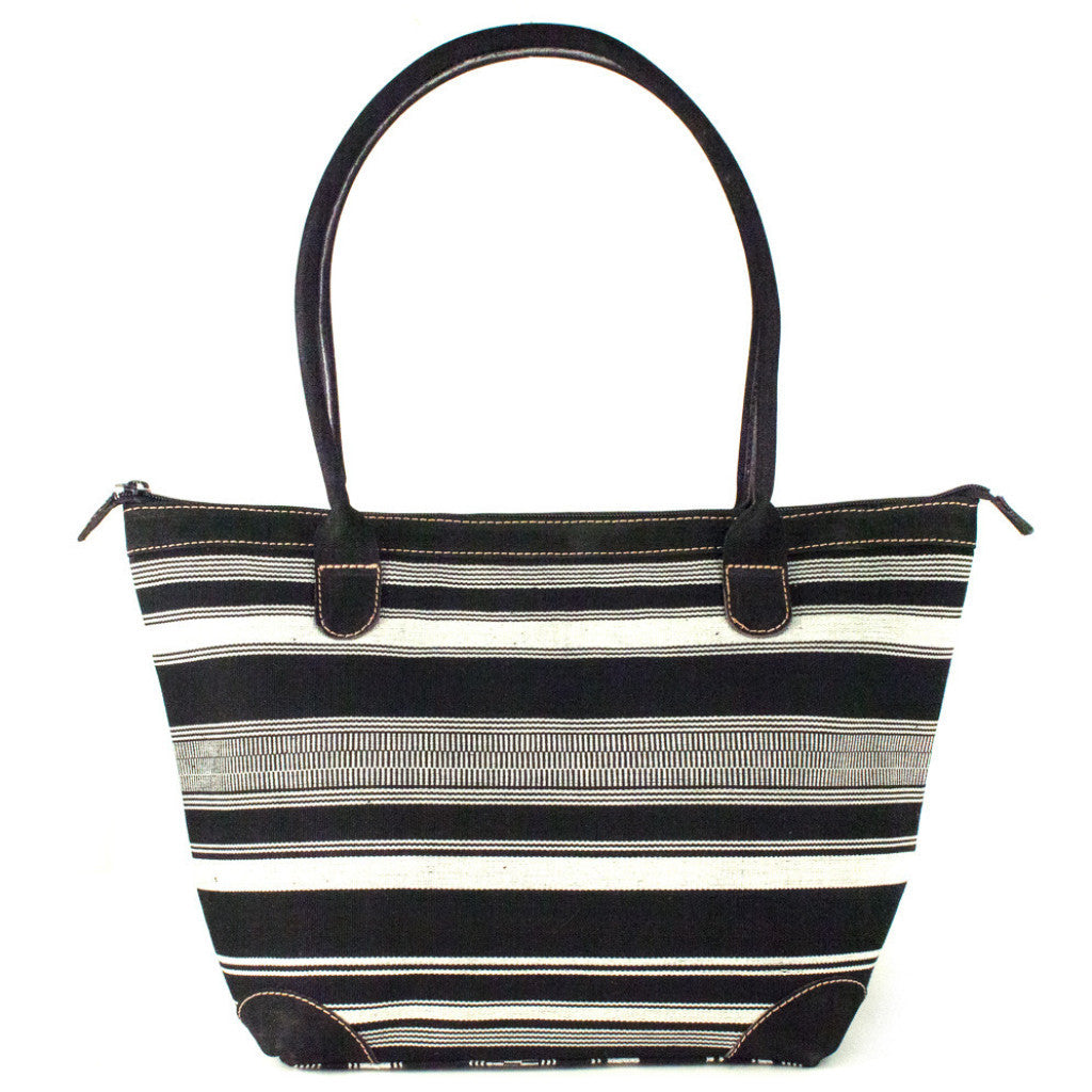 black and white stripe mariana bag