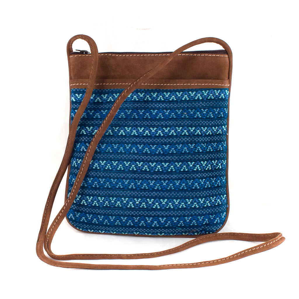 blue santiago brocade bag with leather
