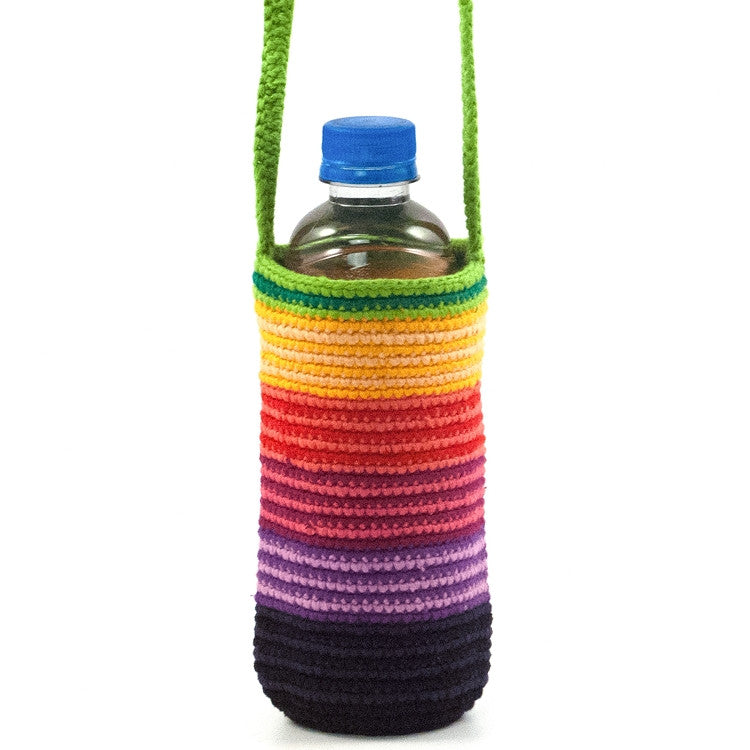Crochet Bottle Bag with Stripes
