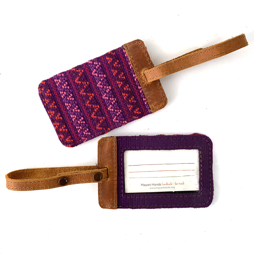 handwoven brocade luggage tag guatemala magenta | Mayan Hands