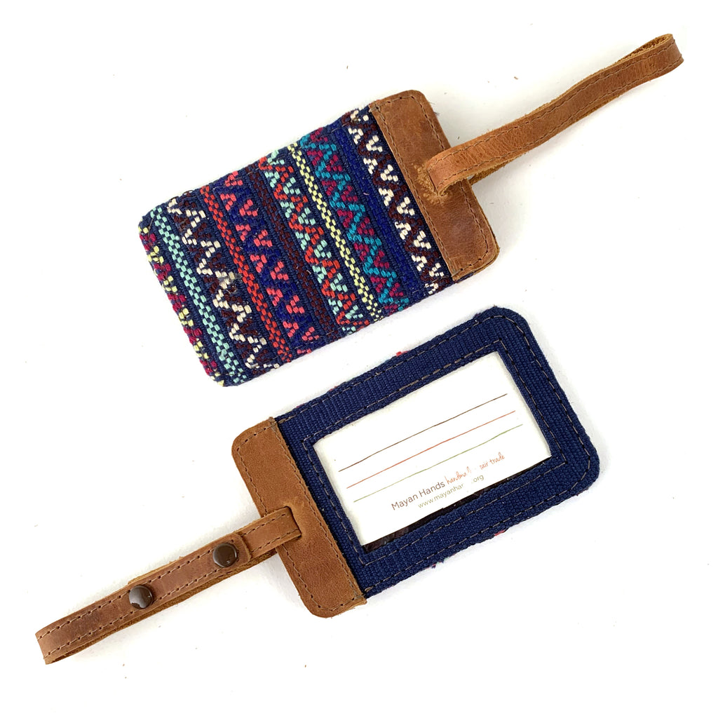 handwoven brocade luggage tag guatemala navy multi color | Mayan Hands