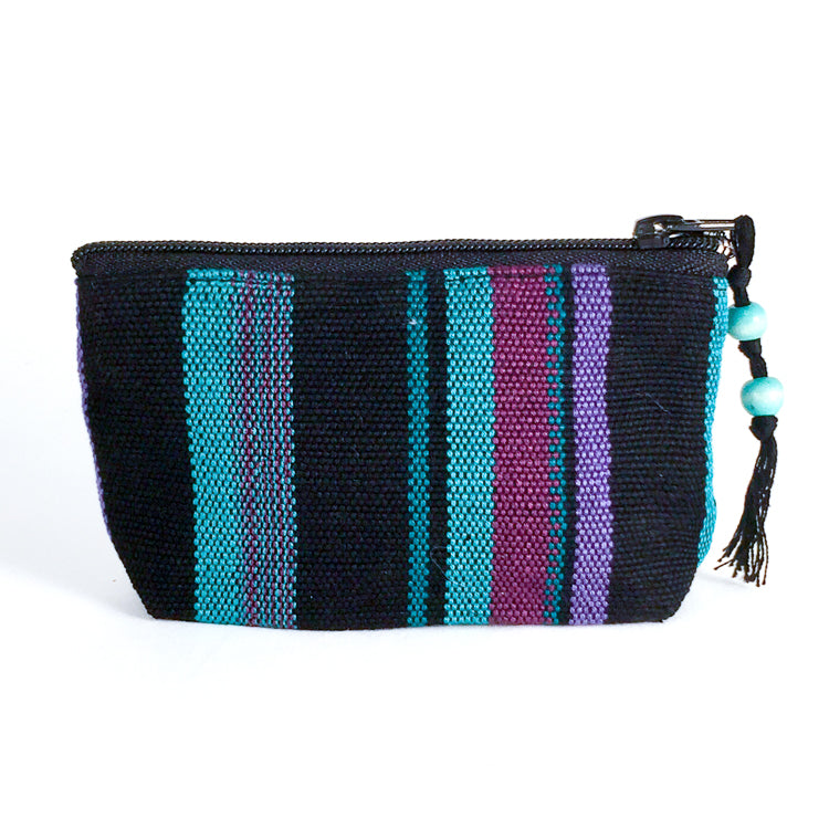handwoven coin purse jade and purple