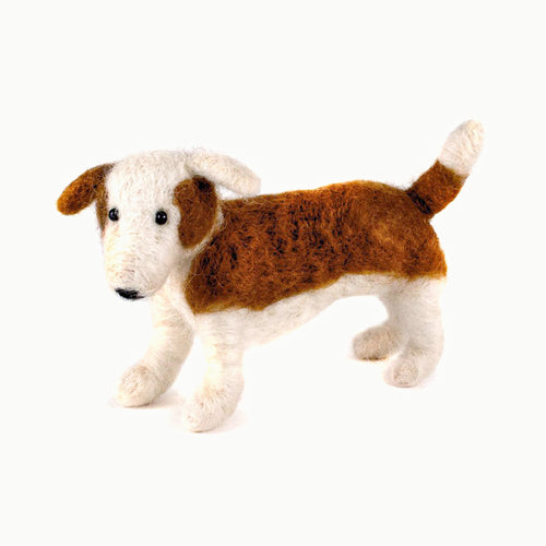 felted wool dog standing