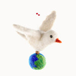 Felted Wool Dove of Peace Ornament with globe